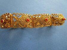 Vintage 1920-1940 Chinese Export Sterling Gold Gilt Red Coral Filigree Bracelet
