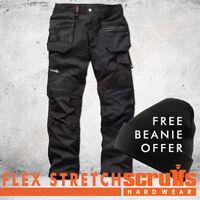 Scruffs Trade Flex Slim Fit Work Trousers Black (ALL SIZES) Mens FREE BEANIE