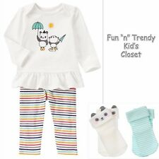 NWT Gymboree TINY PANDA Girls Size 18-24 Months Top & Leggings 2-pc Set + Socks