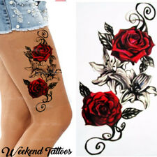 Red Roses Flower Temporary Tattoos Stickers Body Art 3D Rose Tatoo Waterproof UK