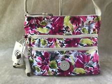 Kipling Alvar Blushing Posies Flower Floral Pink Crossbody Shoulder Bag