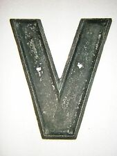 Large Vintage Metal Industrial/Commercial Sign Letter - V