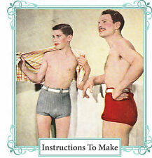 Vintage knitting pattern-How to make 1930 mens & boys bathing, swimming trunks