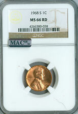 1968-S LINCOLN CENT NGC MAC MS66 RED 2ND FINEST GRADE MAC SPOTLESS.