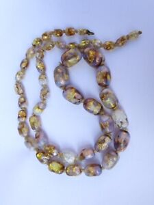 Vintage Opalescent Foiled Glass Bead Necklace 1920s
