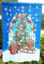 "NEW DECORATED CHRISTMAS TREE SLED SNOWFLAKES  PORCH FLAG POLE 2 SIDED 25"" X 37"""