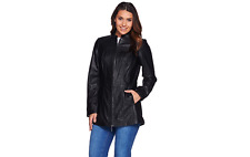 Denim & Co. Lamb Leather Stand Collar Jacket w/ Seam Details BLACK 2X PETITE