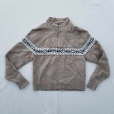 Woolrich Kid's Sweater Size Large Wool Half Zip Abstract LS Tan