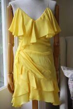 BALMAIN soie jaune Charmeuse Drapé Mini Robe FR 36 UK 8
