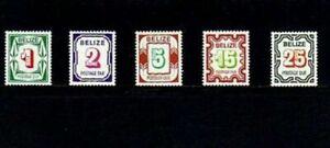 BELIZE - 1976 - POSTAGE DUE - NUMERALS - # J6 - J10 - MINT - MNH SET!