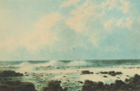 20th Century Watercolour - Expansive Coastal Seascape