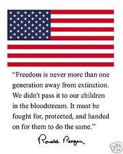 "Ronald Reagan Usa American Flag "" Freedom"" Autograph Quote 8 x 10 Photo # hk2"