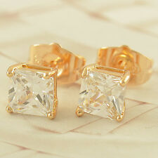 mens jewelry womens boys punk yellow gold filled square stud earrings piercing