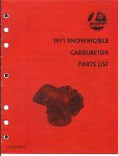 1971 RUPP SNOWMOBILE CARBURETOR PARTS MANUAL WALBORO TILLOTSON & KEIHIN