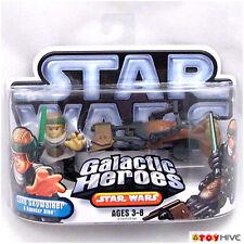 Star Wars Galactic Heroes Luke Skywalker and Speeder Bike dented worn