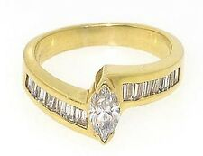 1.52ct Baguette & Marquise Diamond Ring 14k Yellow Gold