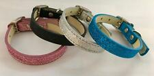 Dog Collar Bling Glitter Strong Large Medium Small Faux Leather