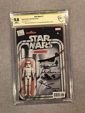 Star Wars #7 Action Figure Variant CBCS 9.8 Signed 3 Stormtrooper Actors Marvel