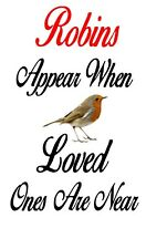 Robins appear Wine bottle decal 17cm high x 10cm wide (wine bottle not included)