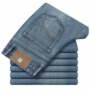 Men Jeans Cotton Denim Pants Stretch Thick Male Casual Trousers With Pockets New