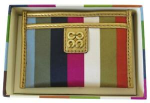 New Gift Box Coach Multicolor Legacy Stripe Leather Business Credit Card ID Case