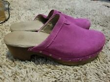 UGG AUSTRALIA Evie Suede Wooden Clogs Purple/Pink Cactus Youth GIRLS SZ 2
