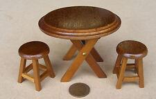 SCALA 1:12 Tavolo pieghevole rotondo in legno + 2 SGABELLI CASA delle Bambole Miniatura Plain Top