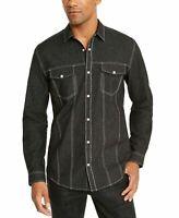 INC Mens Shirt Black Size Small S Lambert Metallic Button Down-Snap $65 #171
