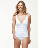 Tommy Bahama White Pearl V-Neck One-Piece Swimsuit Women's Size 10 63423