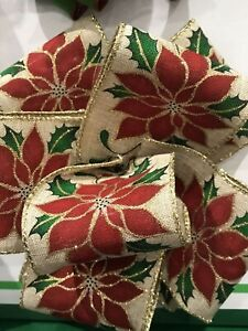 """Wire-Edged RIBBON Extra wide 6.3cm/2.5"""" Hessian with Poinsettia Gold Glitter Edg"""