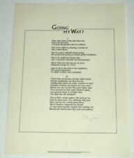 1970 BROADSIDE SIGNED by C. DAY LEWIS - GOING MY WAY? - POETRY