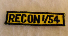 RARE US ARMY TAB FOR RECON 1ST OF 54TH ARMOR BLACK EMB ON YELLOW FELT GAUZE BACK