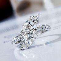 Sunshine 925 Silver Rings Women White Sapphire Wedding Ring Jewelry Size 6-10 US