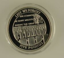 2008 GIBRALTAR £5 FIVE POUND COIN FIRST WORLD WAR CEMETERY SILVER PROOF + COA