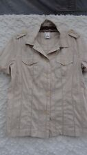 Talbot's Blouse Misses L Cotton Rich Tan Taupe Brown Gold Thread Breast Pockets