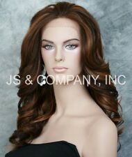 Brown Blonde Mix HEAT SAFE Lace Front wig Roller curls Wavy layered NBY 4/28