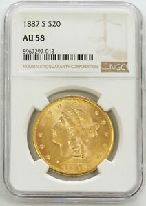 1887 S GOLD $20 LIBERTY DOUBLE EAGLE NGC ABOUT UNC 58