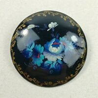 Vintage Hand Painted Blue Floral Brooch Pin - Signed by Artist