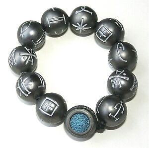 Marvel Comics Black Panther Kimoyo Glow Metal? Bead Bracelet New MOC 11 Bead 001