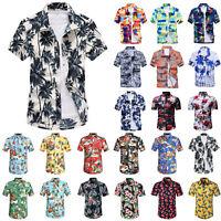 Herren Hawaii Hemd Kurzarmshirt Sommer T-Shirts Freizeithemden Strand Top Hemdn