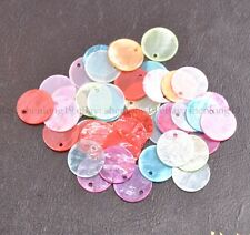 50pcs Assorted Color 13MM 15MM 18MM Flat Round Mother Of Pearl Shell Coin Drop