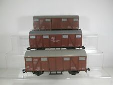 3 x Lima O Gauge BR Brown Sliding Door Ferry Wagons