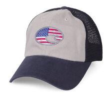 faedac6361 Costa Del Mar USA Flag United Trucker Adjustable Mesh Hat Navy Gray 51n