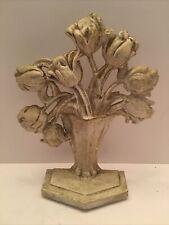 Vintage Hubley Cast Iron Flower Door Stopper