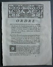 ORDRE Procession Captifs rachetés au Royaume d'Alger + NOMS de 66 esclaves.1750