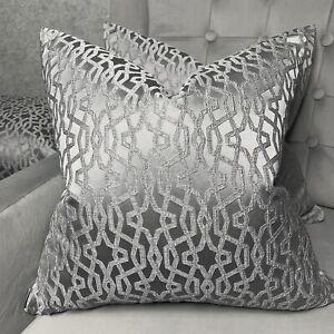 "Cushion Cover 16"" Prestigious Textiles Karma Fabric Geo Embroidered Grey Dove"