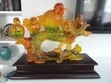 "AMBER TREE SAP & RESIN ART Sculpture Statue Figurine BIRDS ""Ready to Fly"" Large"