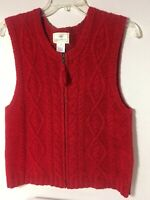 Vintage Susan Bristol Sleeveless Sweater Vest Zip Front Solid Red Size Medium