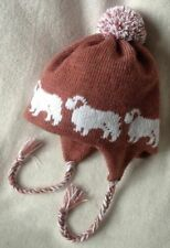 More details for clumber spaniel dog on new  knitted lined dusky pink adult trapper ear flap hat