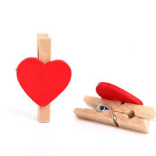 20Pcs Paper Mini Pegs Decor Wedding Red Clips Heart Shaped Wooden Photo